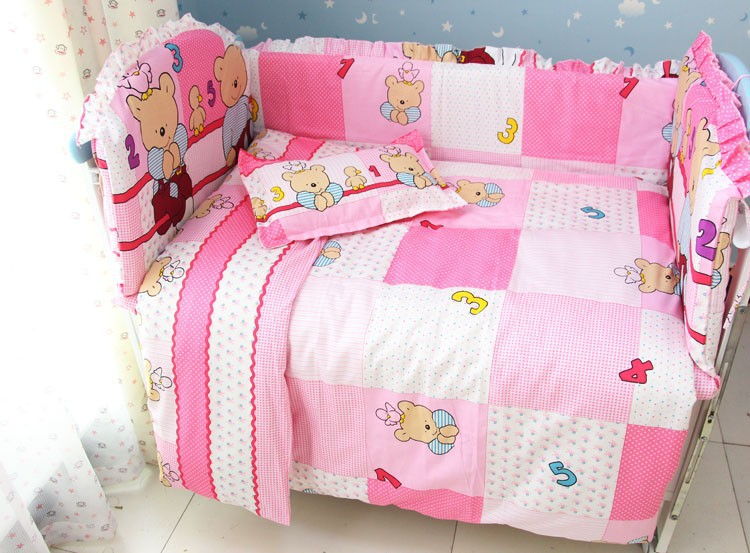 Promotion! 7pcs Pink Bear Baby Girl Bedding Set Crib Set Cotton Bedding Set (bumper+duvet+matress+pillow)