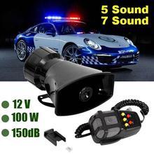 Dragonpad 7 ses yüksek sesle araba uyarı alarmı polis yangın Siren havalı korna PA hoparlör 12V 100W araba aksesuarları araba uyarı alarmı
