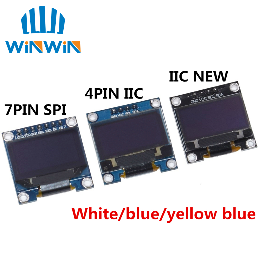 "Original 0.96"" OLED SPI/IIC I2C  white/blue/yellow blue 0.96 inch OLED module 128X64 OLED LCD LED Display Module For ARDUINO-in LCD Modules from Electronic Components & Supplies"