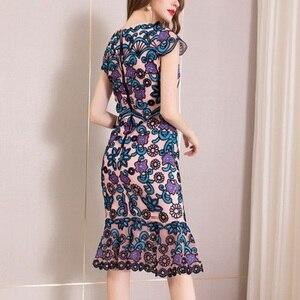 Image 4 - משרד ירך חבילת שמלת 3xl אביב 2019 גבירותיי נשים הברך אורך פרח מסיבת שמלה בתוספת גודל בציר רקמת שמלות קיץ