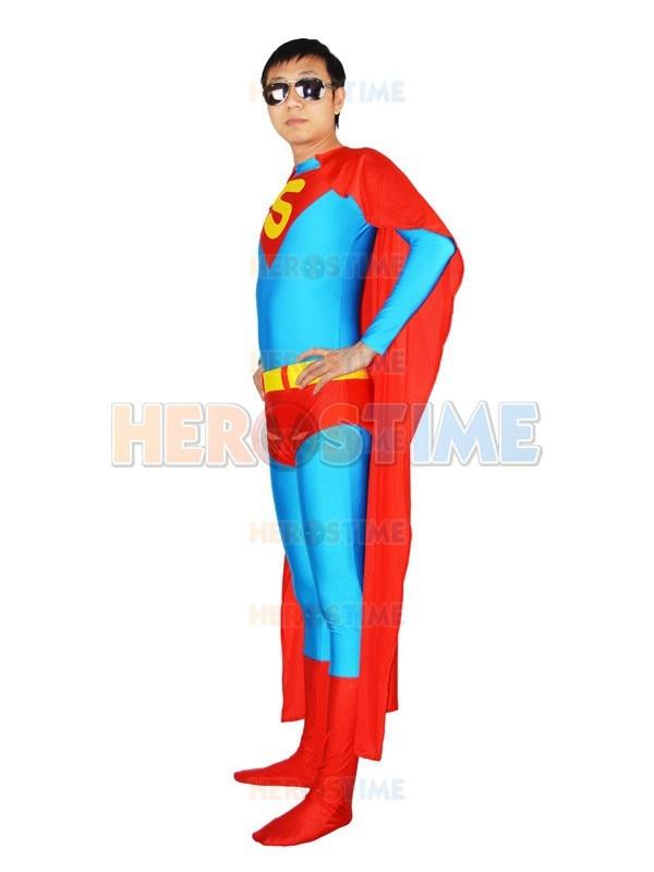 Traje azul Superman Spandex de cuerpo completo traje zentai de - Disfraces - foto 3