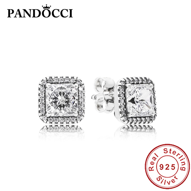 cfb59387b7853 US $12.56 10% OFF|PANDOCCI 100% 925 Sterling Silver 1:1 290591CZ TIMELESS  ELEGANCE ZIRCONIA EARRING STUDS Vintage Original Wedding Jewelry-in Stud ...