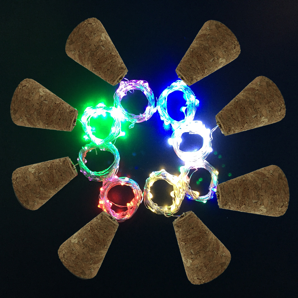 3Modes Light string Wine Bottle Wooden Cork Light 1M 2M Garland Sliver Fairy LED String Lights for Party Wedding Decoration