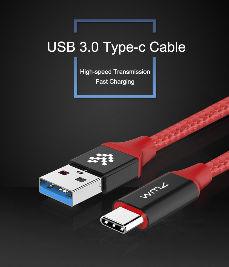 USB Type-C 3.0 Red Braided Cable 1