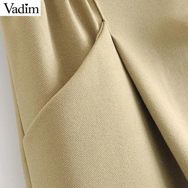 Vadim women stylish solid skirt faldas mujer pockets buttons elastic waist Drawstring tie female casual chic mini skirts BA598