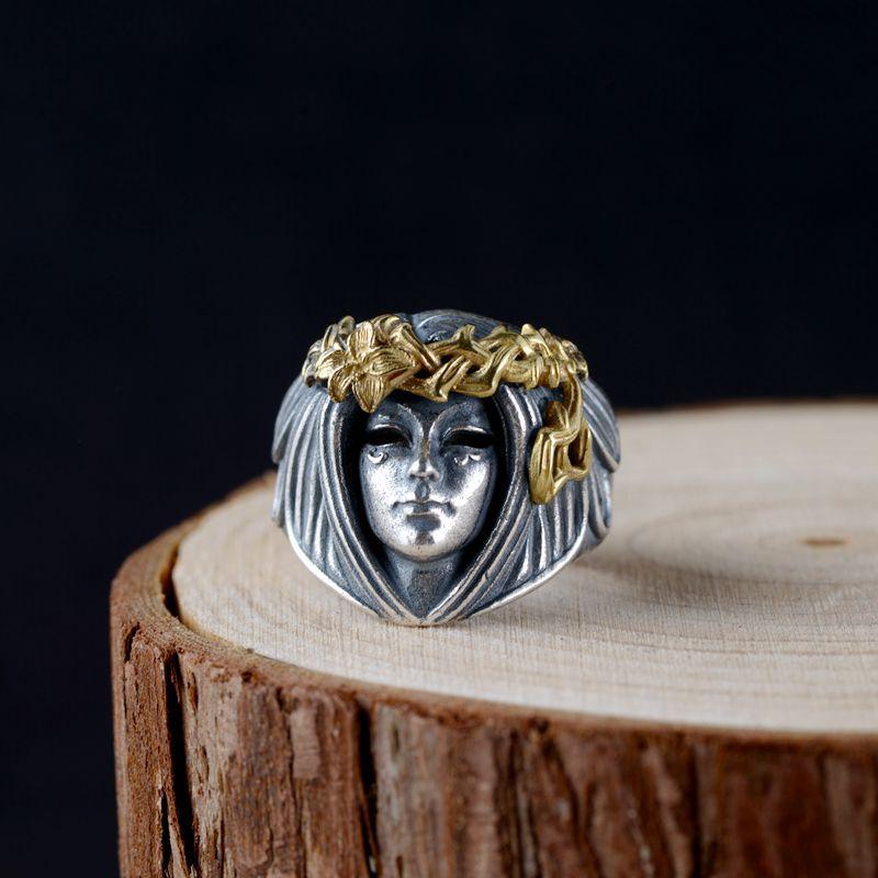 2019 nouvelle mode 925 en argent Sterling Anillos fleur pour femmes hommes Punk Thai argent femmes forme anneau bijoux fins taille réglable