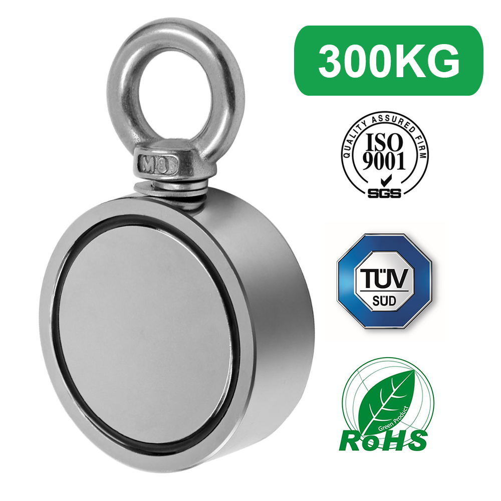 300KG Double Side Strong Salvage Magnet Fishing Pulling Force 60mm Diameter Super Strong Round Neodymium Fishing Magnet Wit300KG Double Side Strong Salvage Magnet Fishing Pulling Force 60mm Diameter Super Strong Round Neodymium Fishing Magnet Wit