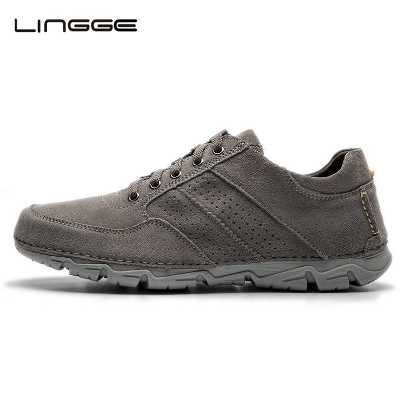 LINGGE New Men's Shoes Suede Leather Casual Shoes Breathable Men Shoes Fashion Leather Flats Light TPR Outsole #5327-5 bimuduiyu trend casual shoes for men fashion light breathable lace up male shoes high quality suede leather black flats shoes
