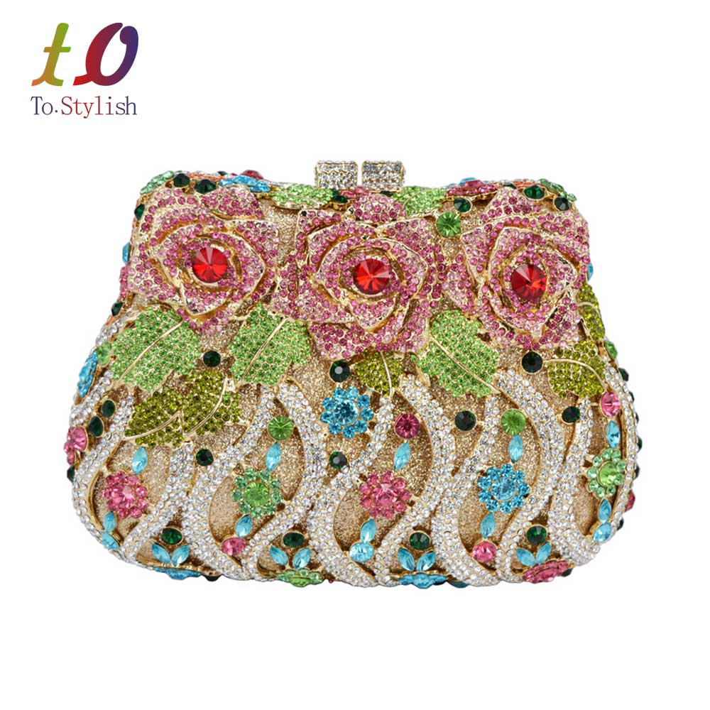 ФОТО Luxury crystal clutch evening bags Rose flower sparkly women diamante bag colorful wedding banquet handbags prom bag SC040