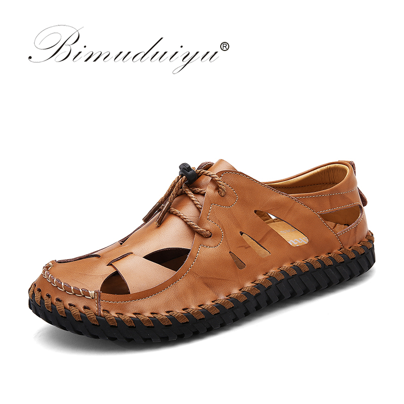 BIMUDUIYU New Men Sandals Brand Leather Summer Casual Shoes  Breathable Beach Back Strap Sandals Fashion Non-slip Flats Shoes