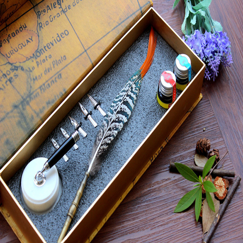 Natural Feather Antique Dip Pen Set with 1 Pen Holder 1 Gift Box 2 inks and 5 Nibs antique gothic calligraphy dip pen set pilot parallel english copperplate script pen with 1 inks 5 nibs 1 stamp 1gift box