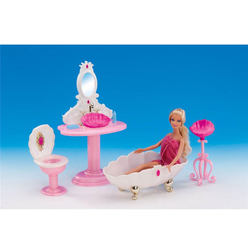 Free Delivery four Objects Lavatory Set Miniature Dollhouse Furnishings for Barbie Doll Greatest Present Toy for Lady