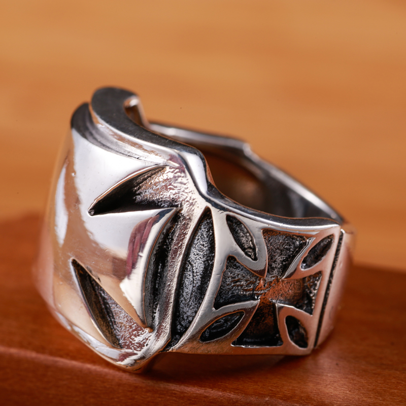 S925 Silver Cross Ring punk style cross flower ring men personality fashion ring children punk style layered stainless steel cross ring for men