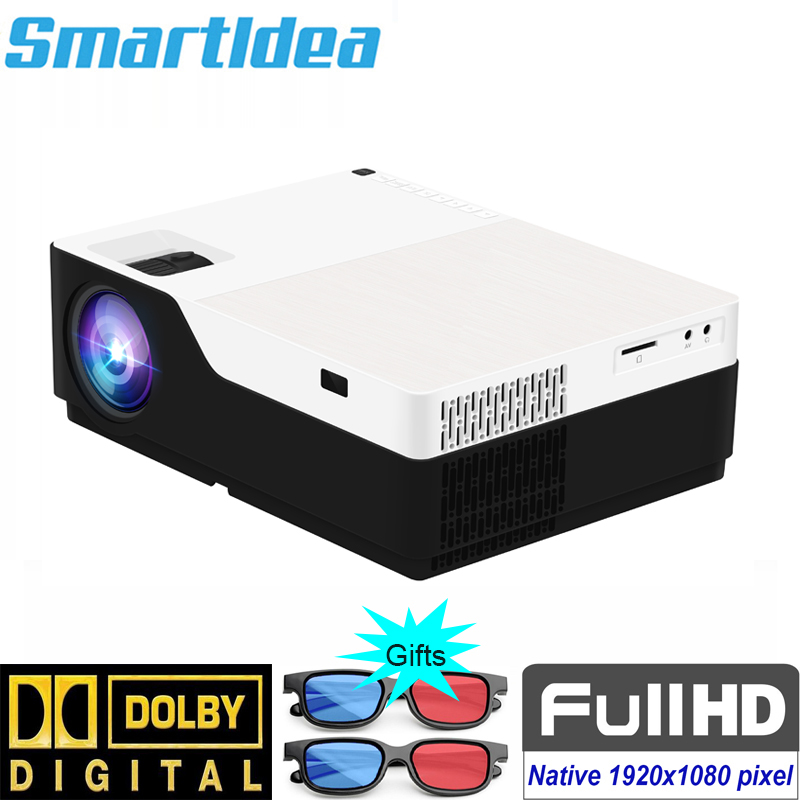 Smartldea M18 1080P Full HD 3D home theater Projector 5500 lumens LED Video game Proyector native 1920 x 1080 cinema Beamer strength training