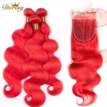 Предварительно окрашенные волосы красные пучки с закрытием объемной волны Реми Бразильские пучки