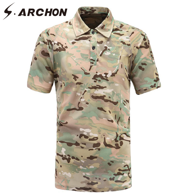 S.ARCHON Military Camouflage Short Sleeve Polo Men Shirt Summer Tactical  Quick Dry Polo Shirt Casual Army Combat Breathable Polo-in Polo from Men\u0027s  Clothing ...