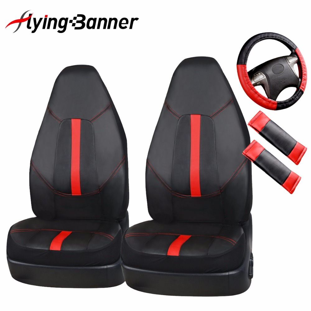 PU Leather 2Front Car Seat Cover Universal Fits Non-Detachable Headrest Car Styling Car Seat Protector With Steering Wheel Cover runba ice silk steering wheel cover sets with red thread