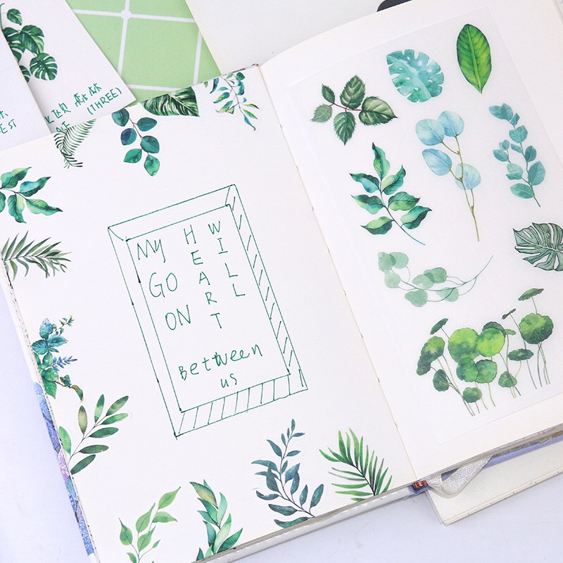 6 Pieces Fresh Ins Leaf And Tropical Plants Watercolor Hand-paint Sticker Washi Paper Sticker/ DIY Decoration Handbook Sticker