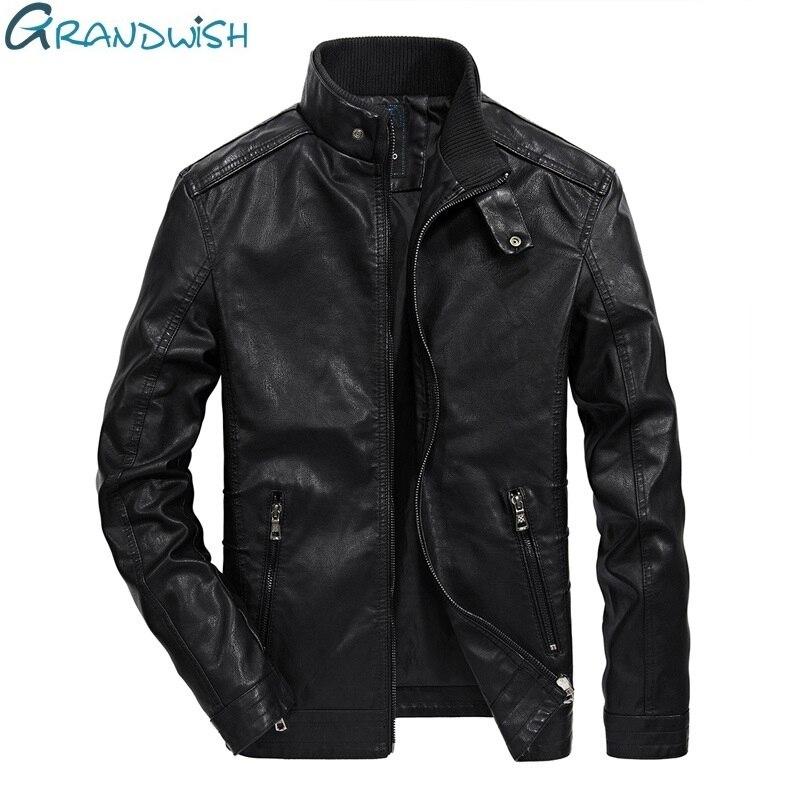 Grandwish PU cuir veste hommes col montant automne classique moto veste en cuir hommes Faux cuir veste mâle, DA366