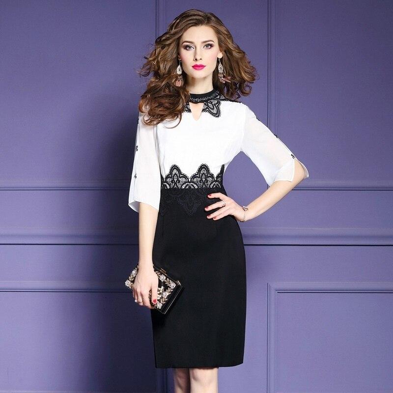 Travail bureau sexy robe 2018 printemps été femmes Patchwork élégant dames fête robe grande taille XXL paquet hanches robes d'affaires
