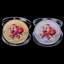 2pcs/box 2019 Pig Souvenir Coin Chinese Zodiac Commemorative Coin New Year gifts Non-currency Coin Decor Lucky Character стоимость