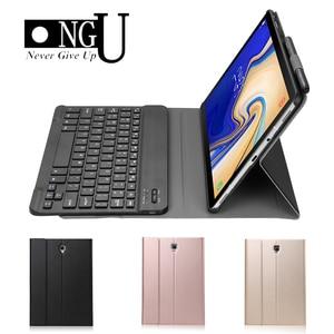 Luksusowe etui na Tablet do Samsung Galaxy Tab A A2 10.5 2018 T590 T595 SM-T590 SM-T595 etui na klawiaturę Bluetooth skórzany stojak