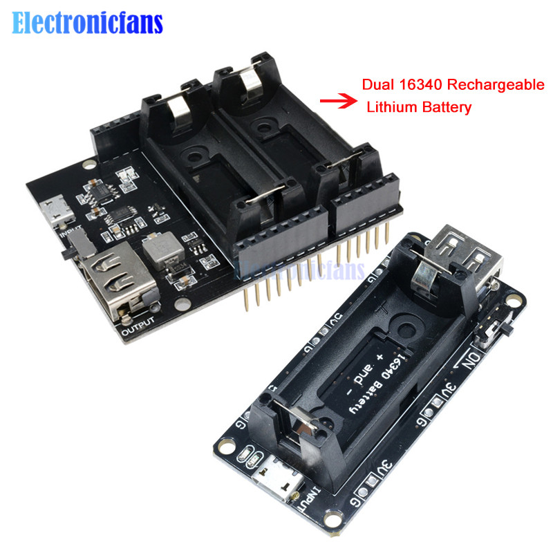 ESP8266 ESP32 Power Supply Rechargeable Dual 16340 Lithium Battery Charger Shield Module Dual Output 3.3V 5V For Arduino UNO R3