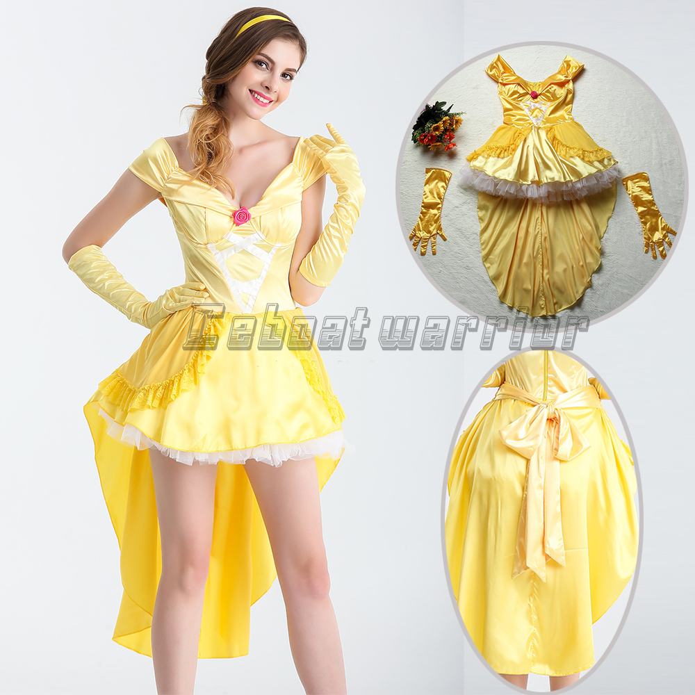 Movie Beauty and Beast princess Belle cosplay Costume yellow fancy Dress  Adult women Clothing 5182172f2ff4