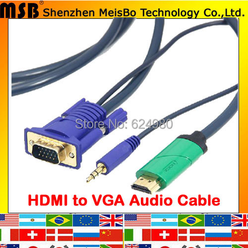 Multifuction OFC 3m HDMI to VGA with audio Cable HDMI to VGA Adapter Male To male 1080p HDMI to VGA Converter For projector PS3