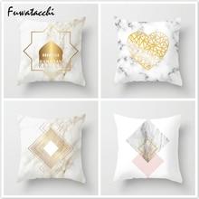 Fuwatacchi Gold Love Heart Throw Pillow Nordic Geometric Cushion Cover Letter Car Home Sofa Decoration Pillowcase