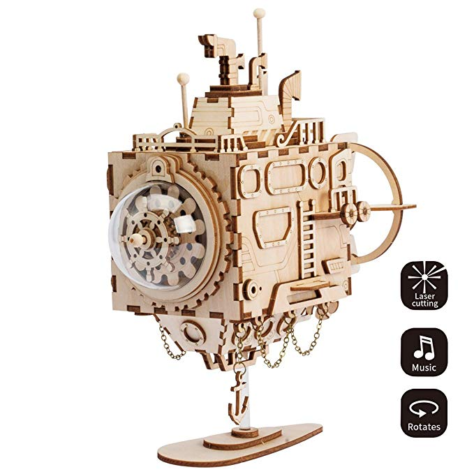 Laser Cut Jigsaw Toys 3D Assembly Puzzle Build Your Own Wooden Music Box Craft Kits Gift Brain Teaser Gifts for Kids and Adults