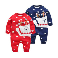 Cute Baby Girls Christmas Sweater Winter Boys Sweaters Kids Clothes Cartoon Deer Embroidery Christmas Children Girls Knit Tops(China)