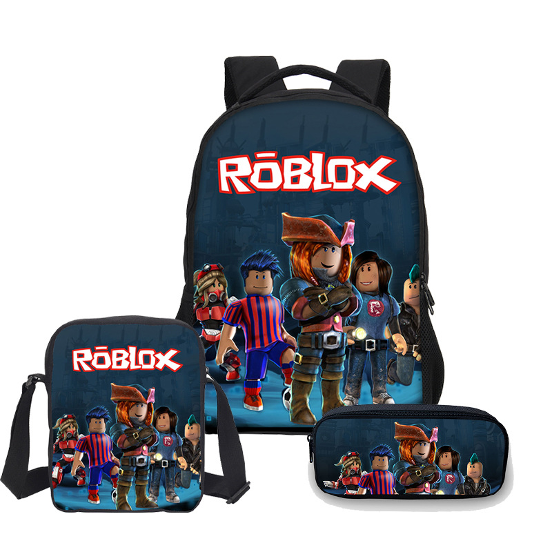 3pcs Roblox R Game Boys Girls School Bag Shoulder Bag Backpack Pencil Case Children Students Mochila