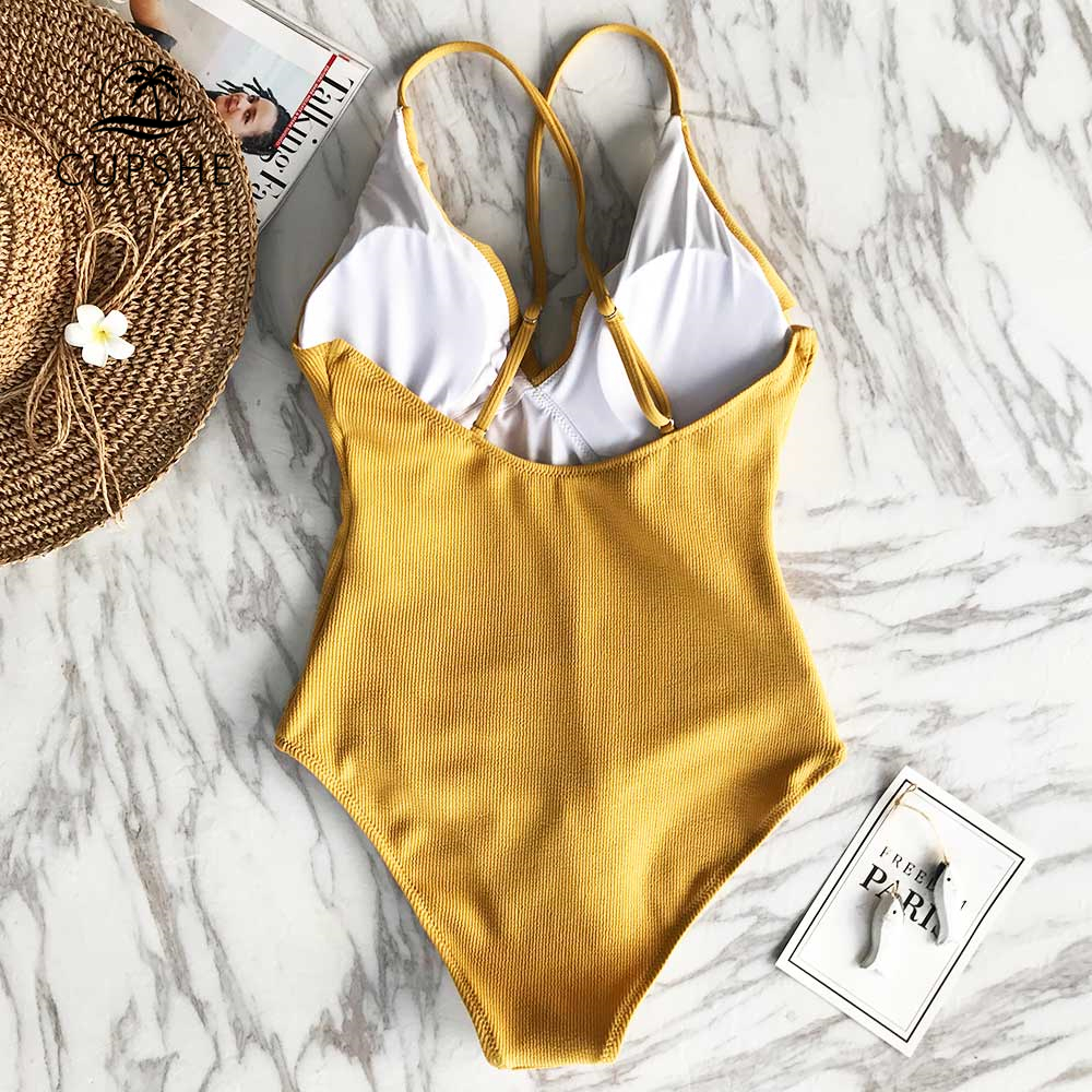 CUPSHE Happy Ending Yellow Solid One-piece Swimsuit Falbala V neck Ruffle Sexy Monokini 2019 Ladies Beach Bathing Suit Swimwear 1