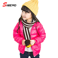 Down Jacket For Girl New Winter 2017 Fashion Pure Color Zipper Coat For Girls Long Sleeve Simple Kids Clothes Girls 5569W