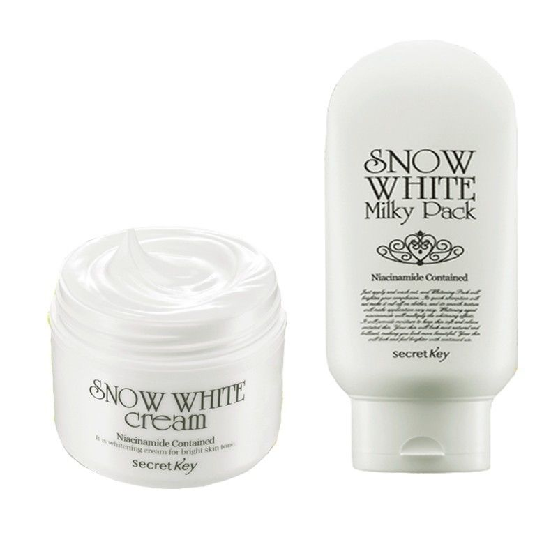 SECRET KEY Snow White Cream 50g + Snow White Milky Pack 200g Skin Whitening Cream Face Anti Winkles Moisturizing Korea Cosmetics secret key snow white milky pack 200g korea face mask moisturizing skin whitening anti aging facial mask beauty
