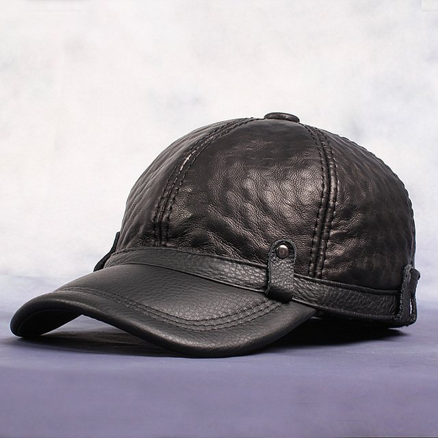 Men'S Leisure Baseball Caps Real Leather Warm Snapback Hats High Quality Sheepskin Golf/Fishing Hat For Adult