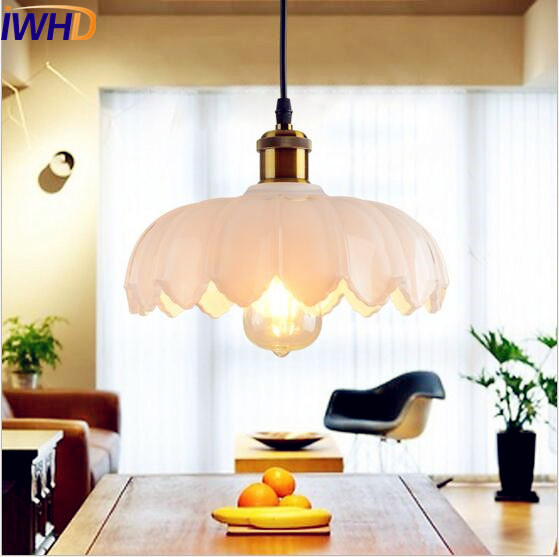 IWHD White Glass Style Loft Vintage Industrial Lamp Lighting Bar Coffe Bombilla Edison LED Pendant Light Hanglamp Luminaire iwhd loft style creative retro wheels droplight edison industrial vintage pendant light fixtures iron led hanging lamp lighting