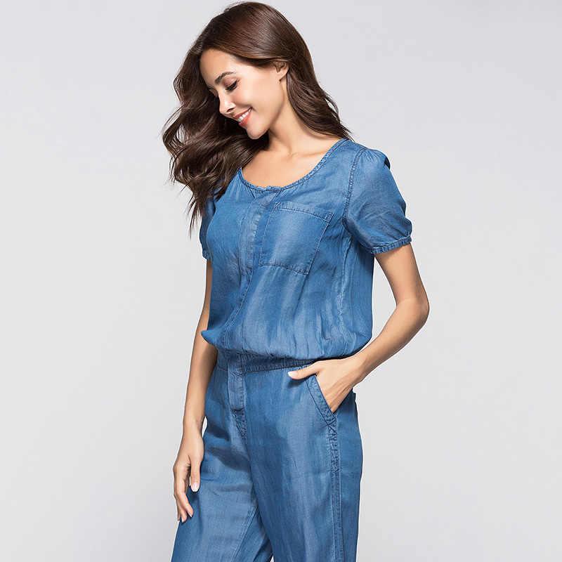 ae9c61520f16 ... ESCALIER Womens Denim Jumpsuit Blue Long Pants 2018 Fashion Loose Tencel  Playsuit Plus Size Women Clothing ...