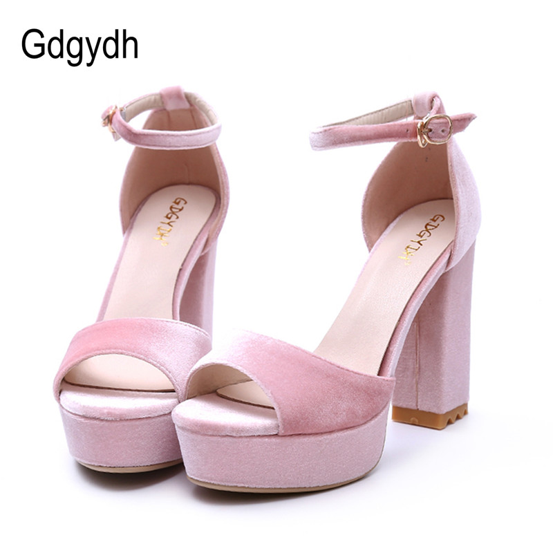 Gdgydh Casual Thick Heels Women Sandals Platform 2017 New Summer Ankle Strap Open Toe Summer Ladies