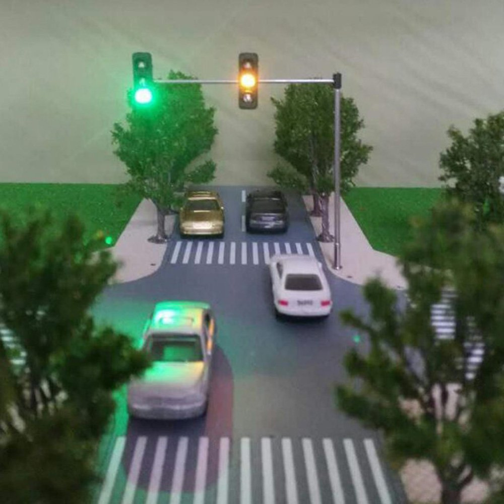 Brave 2 X Traffic Signal Light Ho Oo Scale Model Railroad Crossing Led Street Signals Roadway Safety