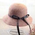 2016 лето женщины большой соломенной шляпе лук складной пляжный отдых соломенная шляпа Даян Мао chapeu feminino