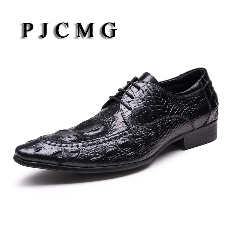 PJCMG Crocodile Grain Black/Wine Red Summer Flats Mens Loafers Lace-Up Wedding Genuine Leather Dress Mens Casual Shoes top quality crocodile grain black oxfords mens dress shoes genuine leather business shoes mens formal wedding shoes