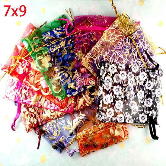 100 Random Mixed Drawable Organza Wedding Gift Bags&Pouches 7cm*9cm(w00459) AA
