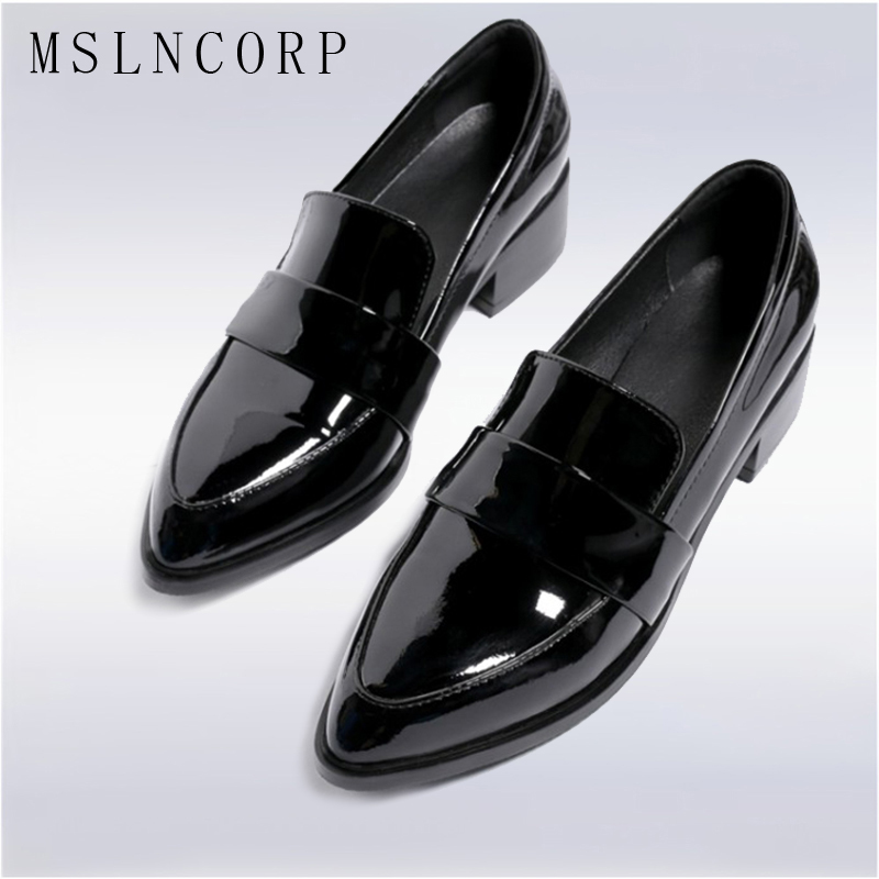 plus size 34-43 New Fashion Patent Leather Oxford Shoes for Women Flats British Style Comfortable Slip on loafers Casual Shoes beffery 2018 british style patent leather flat shoes fashion thick bottom platform shoes for women lace up casual shoes a18a309