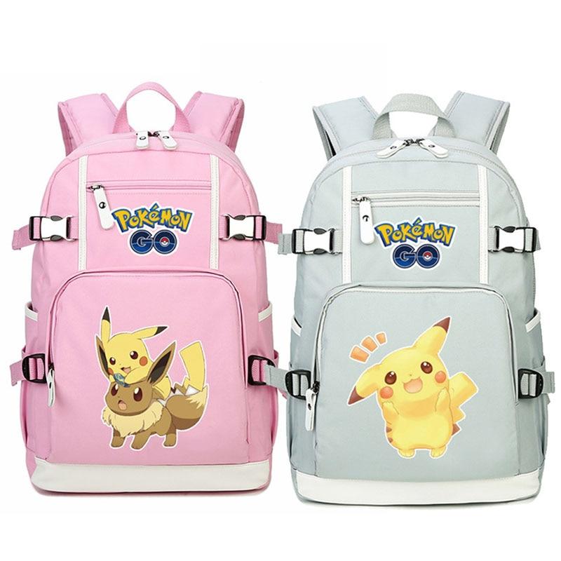 Pokemon Go Pikachu Eevee Designer Backpack School Bag Casual Teenagers Student Book Travel Laptop Bags