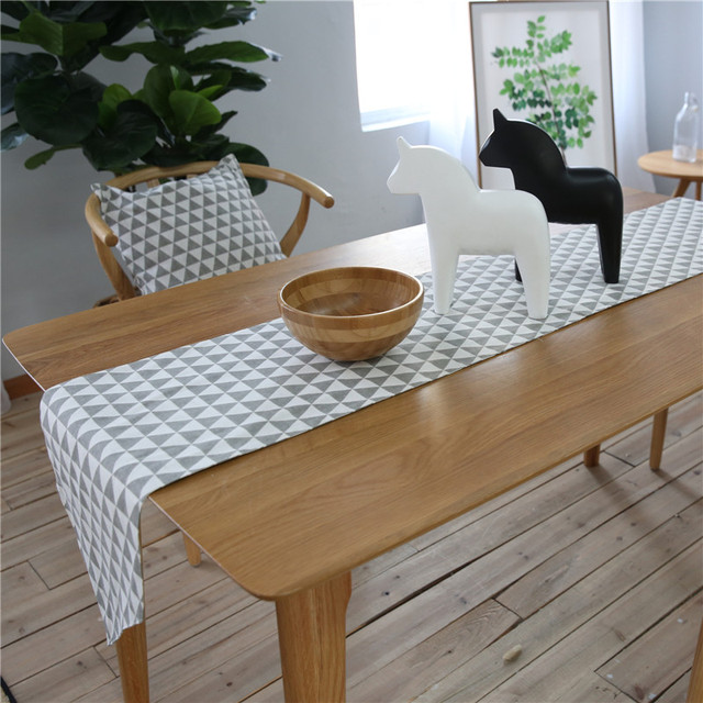 Black And White Grid Tablecloth Table Runner Placemats Mats Modern Table  Flag For Home Wedding Decoration