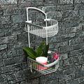 Doble capa de espacio de aluminio toalla de baño con ducha Basket Bar Shelf para estantes de baño lavadero Rack