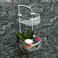 Double layer  Space Aluminum Towel Bath Shower Basket Bar Shelf For Bathroom Shelves Rack Washroom