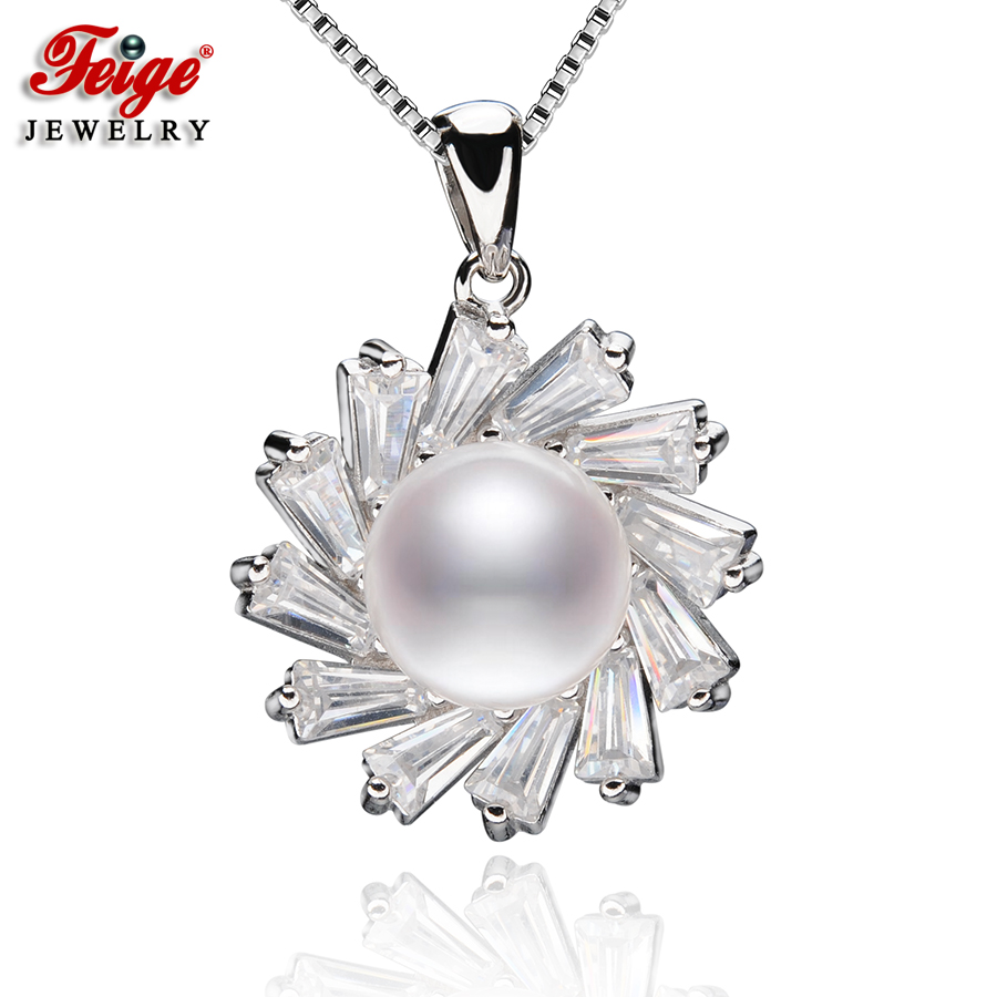 FEIGE 9-10MM White Natural Freshwater Pearl Pendants Genuine 925 Sterling Silver Pendant Necklace For Womens Fine Pearl JewelryFEIGE 9-10MM White Natural Freshwater Pearl Pendants Genuine 925 Sterling Silver Pendant Necklace For Womens Fine Pearl Jewelry